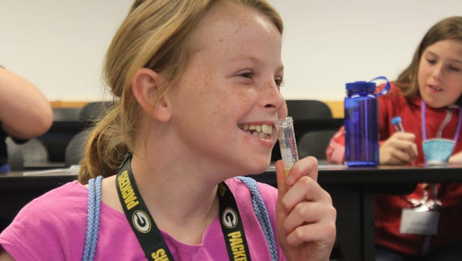 Sixth-grade girls participate in a day STEM-themed lectures aimed at getting female youth interested in the fields of science technology engineering and math, Oct. 13 at New Mexico State University Carlsbad.