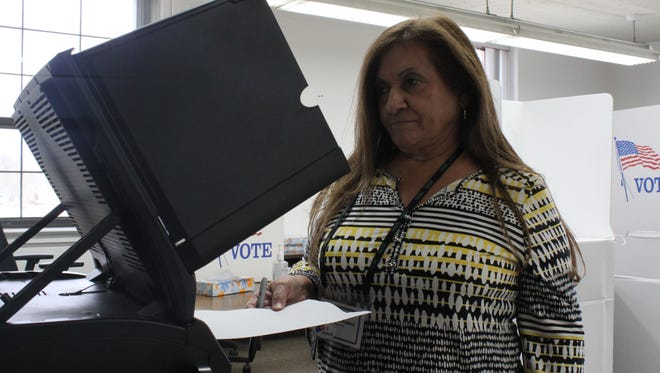 Carlsbad voters cast early ballots for the upcoming municipal election, Feb. 15 at the Carlsbad Municipal Building.