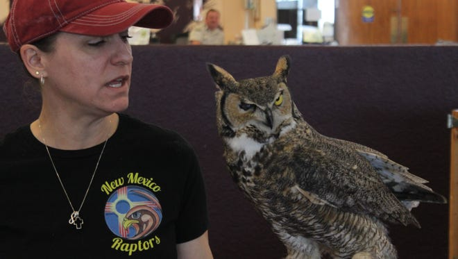 Laura McCann of New Mexico Raptors, presents three native New Mexico birds of prey before local residents and visitor, Feb. 24, 2018 at the Living Desert Zoo and Gardens State Park.