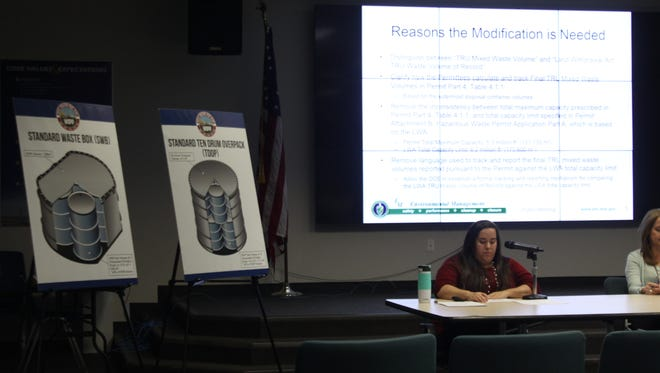 Nuclear Waste Partnership contractor Ashley Urquidez discusses a requested modification to the WIPP's permit during a public hearing, March 7, 2018 at the Skeen Whitlock Building in Carlsbad.