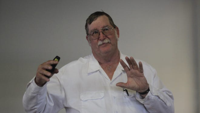 Retired Eddy County Agriculture Extension Agent Woods Houghton explains the dangers posed by venomous animals in Eddy County, April 18, 2018 at the Pecos River Village Conference Center.