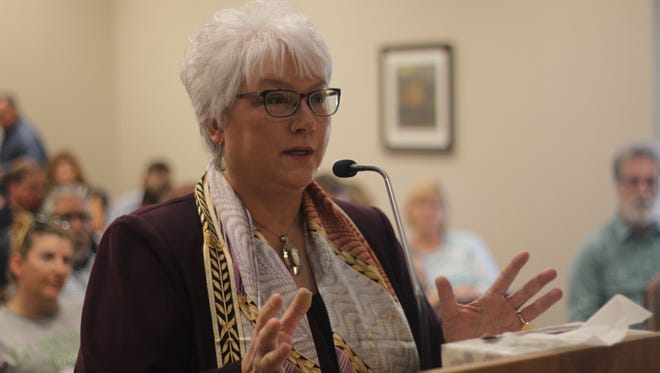 New Mexico State Rep. Cathrynn Brown (R-55) addressed the Carlsbad Brine Well Remediation Authority during a meeting, April 18, 2018 at the Carlsbad Municipal Annex.