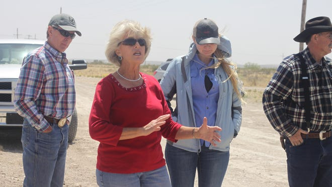 Carlsbad rancher Lisa Ogden discusses soil conservation efforts on her land, April 19, 2018 in southern Eddy County.