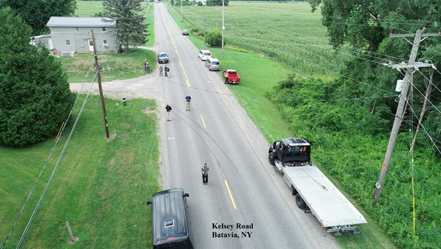 An aerial photo shows where a police pursuit ended Thursday afternoon in Batavia.