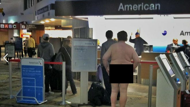 A naked man was found walking around Nashville International Airport Sunday, Feb. 21, 2016