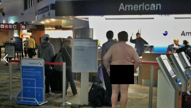 Naked man arrested after throwing own feces inside airport