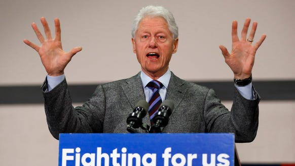Bill Clinton speaks during a campaign stop for Hillary
