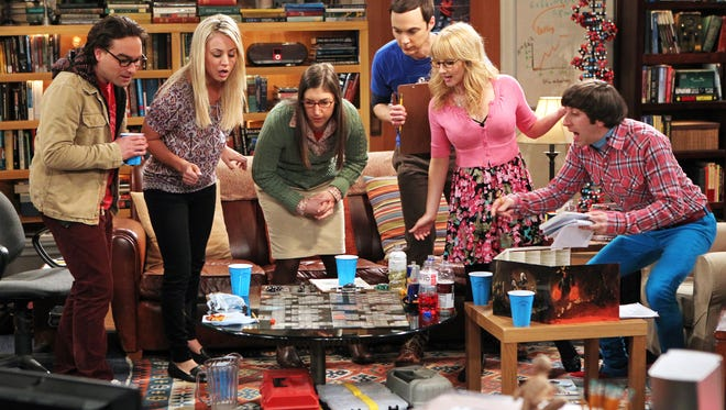 The cast of 'The Big Bang Theory': Johnny Galecki (from left), Kaley Cuoco, Mayim Bialik, Jim Parsons, Melissa Rauch and Simon Helberg.