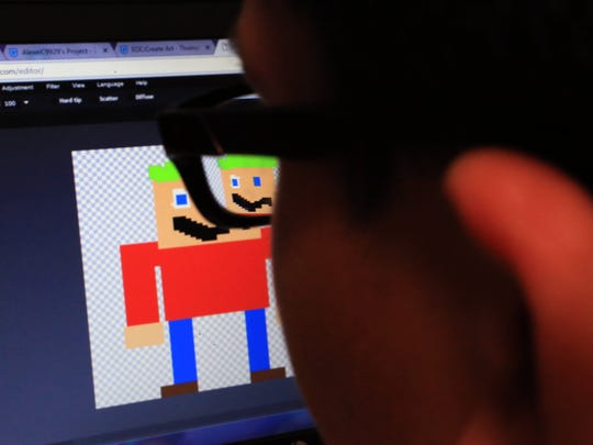 Jefferson Intermediate School student Alexei Carrasco, 10, works on designing his avatar during class on Friday, Dec. 2, 2016, in Beeville. The school district has integrated a new computer science program throughout the district.