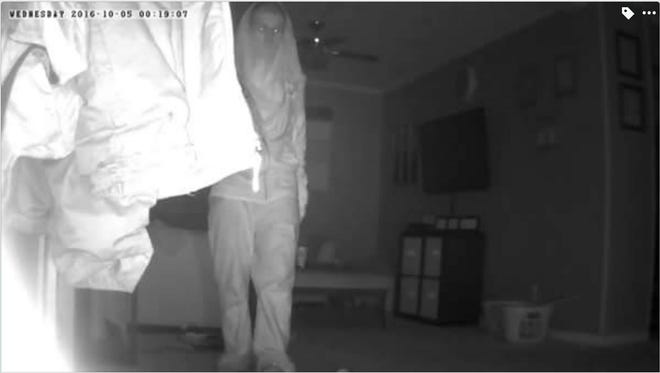 A home surveillance video still provided by the Marion Police Department.