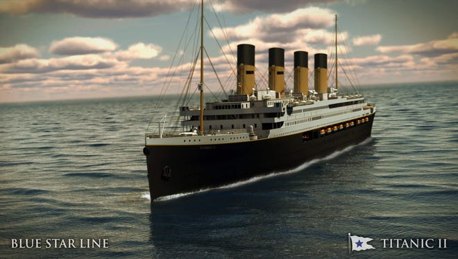 In this rendering provided by Blue Star Line, the Titanic II is shown cruising at sea. The ship, which Australian billionaire Clive Palmer is planning to build in China, is scheduled to sail in 2018.