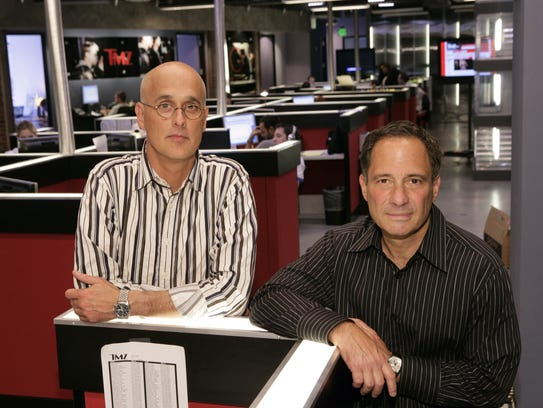 TMZ executive producers, Harvey Levin (r) and Jim Paratore