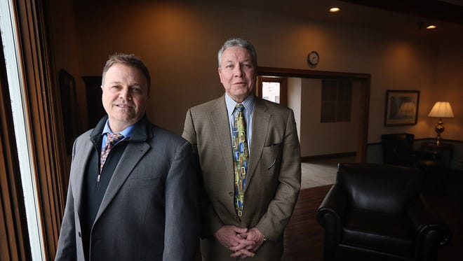 Jack Bice, left, president of the Beauterre Recovery Institute, and Francis M. Sauvageau, president and CEO of Meridian Behavioral Health, on Feb. 12 in Owatonna, Minn.