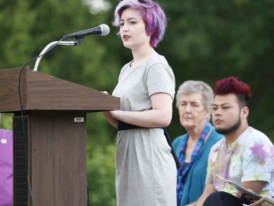 Brianna Burgess, a Fond du Lac High School student, spoke at the event.