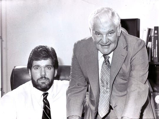 Aug 27, 1984.  Robert Bob Irsay, Indianapolis Colts owner, right, with his son Jim Irsay.
