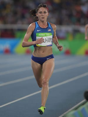 Aug 19, 2016: Shelby Houlihan (USA) competes in the women's 5000m final during track and field competition in the Rio 2016 Summer Olympic Games at Estadio Olimpico Joao Havelange.