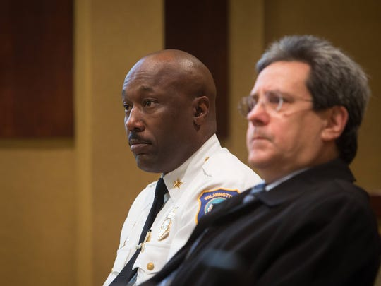 """Wilmington police Chief Bobby Cummings attends a gathering of local clergies and community leaders at Congregation Beth Emeth as they denounce the title of """"Murder Town USA"""" on Friday."""