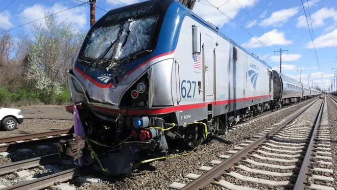 In this image provided by Amtrak, the train involved in an April 3 crash south of Philadelphia is shown.