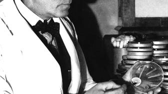 Alexander Fleming works with a penicillin mold in his London laboratory in 1943. He discovered penicillin in 1928.