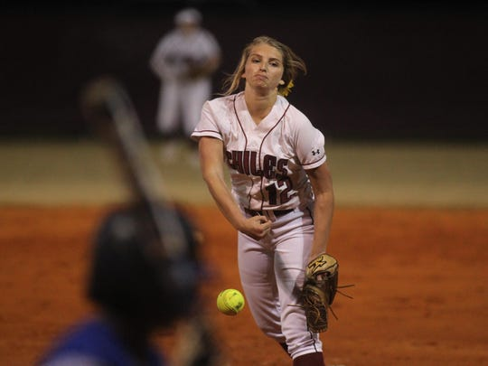 Chiles junior Allie Lavoie pitches in relief during the Timberwolves' 14-4 win over Godby on Tuesday night. Lavoie is 3-0 on the year and has allowed just two earned runs.