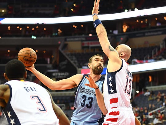 Memphis Grizzlies center Marc Gasol (33) shoots as Washington Wizards center Marcin Gortat (13) defends during the first half at Verizon Center on Wednesday, Jan. 18, 2017.