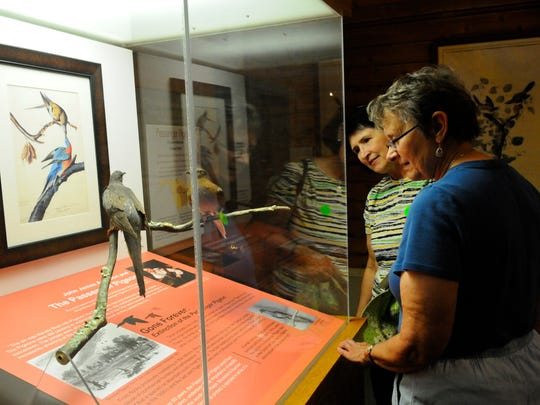 Anne Gillespie, York, Pa., left, and Susan Gillespie, Virginia, Minnesota, right, read an excert from Audubon's Ornithological Biography describing a flock of Passenger Pigeons in Kentucky in 1813 at The Art of John James Audubon exhibit at Hawk Mountain Sanctuary in Kempton, Pa., Monday, Sept. 1, 2014. The exhibit is on display until December 31. (AP Photo/The Republican-Herald, Jacqueline Dormer)