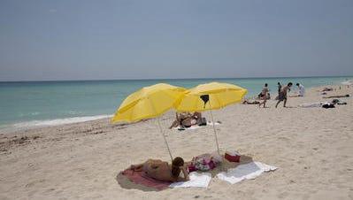 Sunbathers in Miami Beach