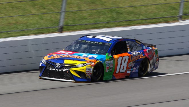 Kyle Busch, shown during practice, won the pole for Sunday's NASCAR Cup race at Pocono Raceway.
