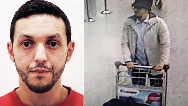 "This composite image shows a mug shot of Mohamed Abrini, left, and surveillance footage of the ""man in the hat"" taken at Brussels Airport shortly before a bombing March 22. Abrini, charged Saturday with ""terrorist murder"" in the Brussels attack confessed he is the ""man in the hat"" seen on the footage, according to the Belgian prosecutor's office."