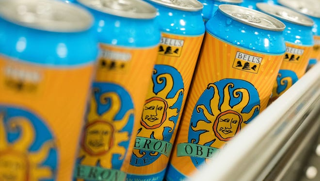 Oberon Ale on the canning line.