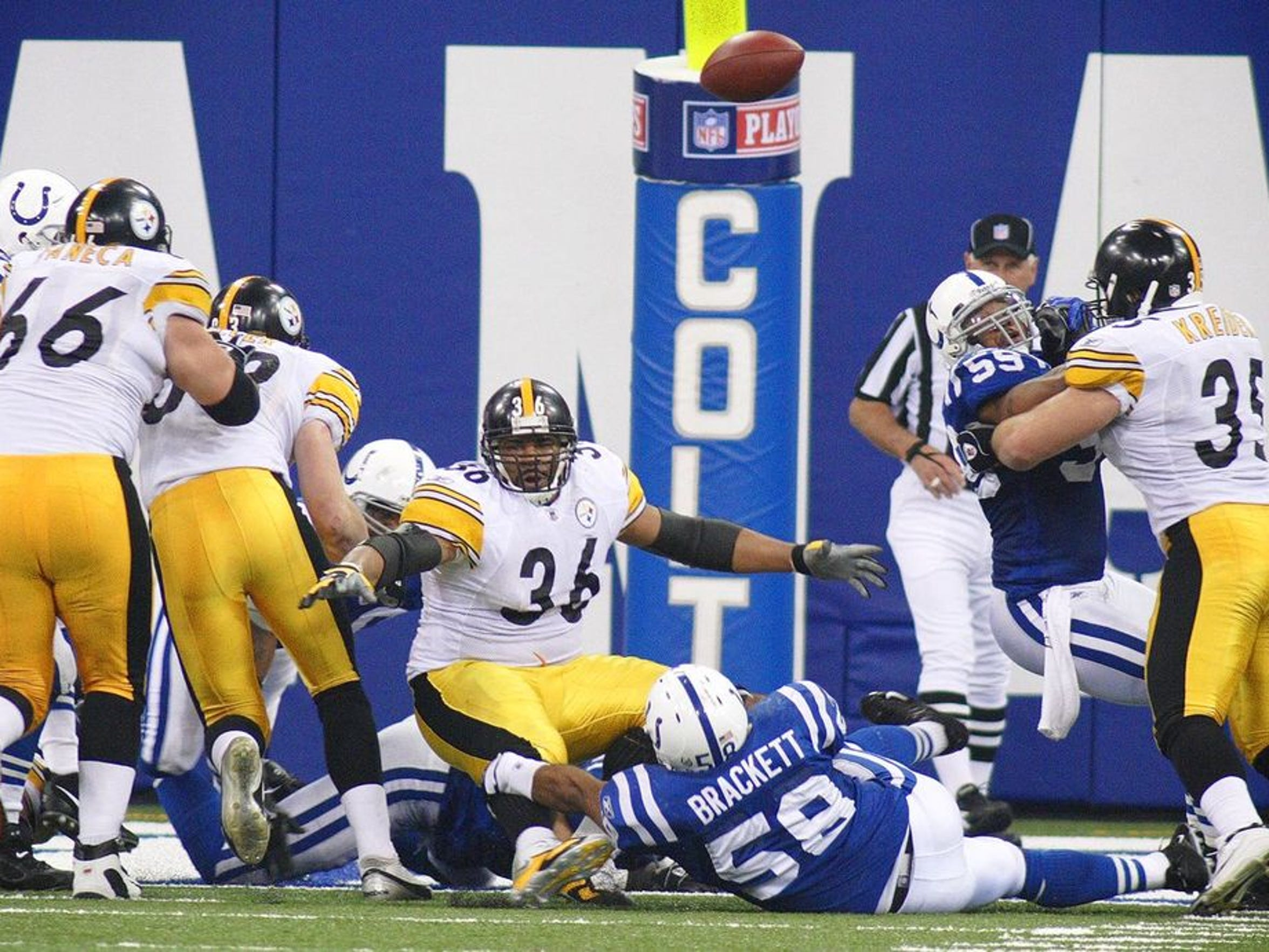 Jerome Bettis, playing his final NFL season, hadn't fumbled once in 136 carries that year.