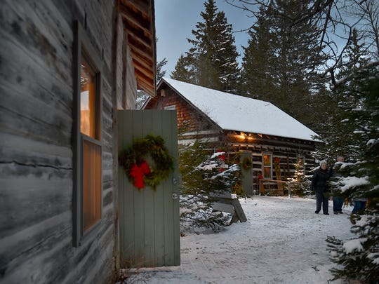 Cabins at the Ridges Sanctuary are decked out for the holidays.