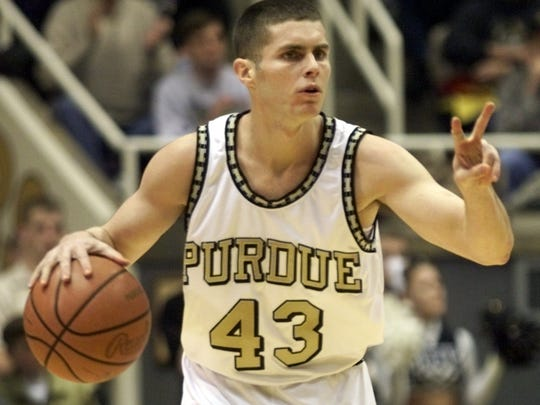 Purdue's Carson Cunningham in action Tuesday 2/23 against Minnesota. FOR FUTURE STORY(STEVE HEALEY/STAFF PHOTO)2/23/99