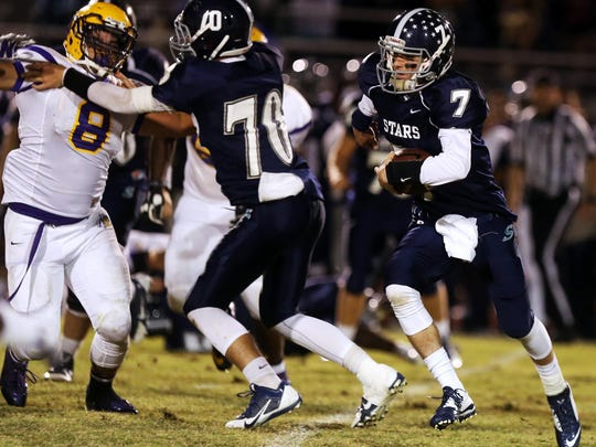 Siegel quarterback Jordan Middleton and the Stars play at Smyrna in what should be a key Region 2-6A game this season on Sept. 25.