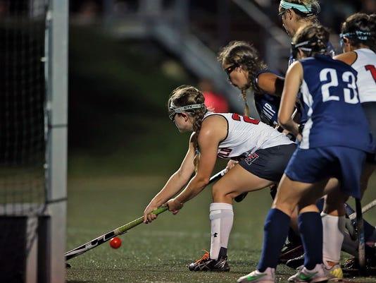 Hempfield's Kyra Brakefield (29) takes a shot on Manheim Twp. goal during first half action at Hempfield High School Monday September 28, 2015. Chris Knight - GametimePa.com