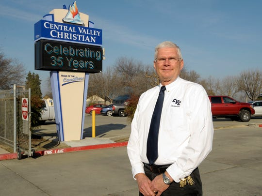 Central Valley Christian's Superintendent John DeLeeuw, pictured in front of the high school.