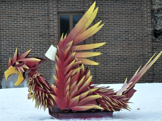 One of the detailed cardboard sleds entered in the 9th annual Cardboard Classic Saturday, January 24, 2015.
