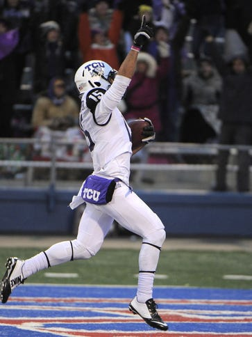 Nov 15, 2014; Lawrence, KS, USA; TCU Horned Frogs wide