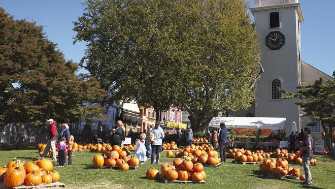 The annual pumpkin patch at Trinity Church is open until Halloween.