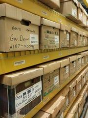 Gov. Howard Dean's records on shelves in Vermont State Archives.