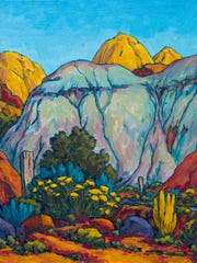 """The desert landscape is Royden Card's primary inspiration for paintings like """"Dome and Green Hill."""""""