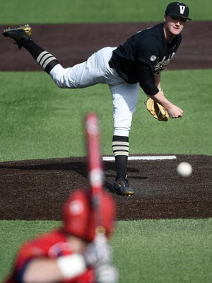 Vanderbilt pitcher Drake Fellows (66) was among four players suspended.