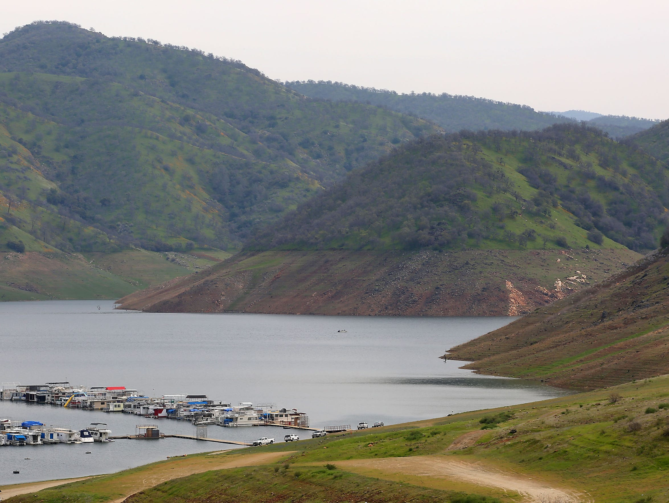 The levels of Pine Flat Reservoir near Fresno were
