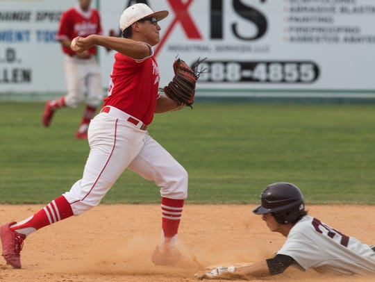 Robstown's Xavier Pena throws the ball to first for