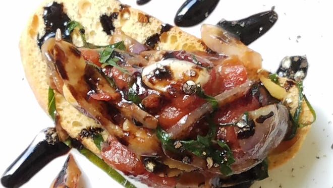 Adam Edwards' super-flavorful and healthful dish to make with summer eggplant was a bruschetta topping with garlic, tomatoes, basil and capers, finished with a balsamic drizzle.