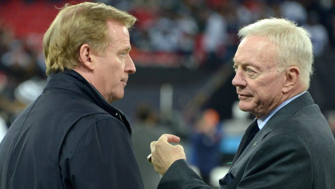 NFL commissioner Roger Goodell (left) and Dallas Cowboys owner Jerry Jones before the game against the Jacksonville Jaguars in the NFL International Series game at Wembley Stadium.