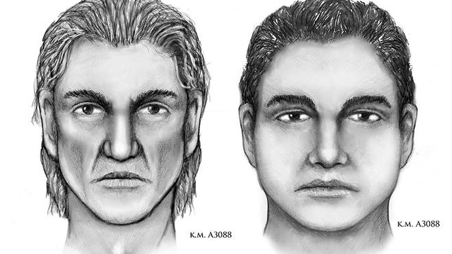 Sketches of two persons of interest in the murder of a married couple found dead in their Phoenix home July 2.