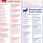 Republican and Democratic election ballots for the Tuesday Primary Election