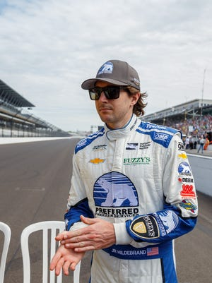 May 27, 2016; Indianapolis, IN, USA; IndyCar Series driver J.R. Hildebrand during Carb Day for the Indianapolis 500 at Indianapolis Motor Speedway.