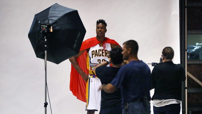 Indiana Pacers rookie Myles Turner poses in a Superman cape during a Pacers photo shoot at Pacers Media Day at Bankers Life Fieldhouse in Indianapolis on September 28, 2015.
